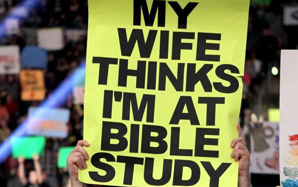 bible study wrestlling wwe funny fan signs
