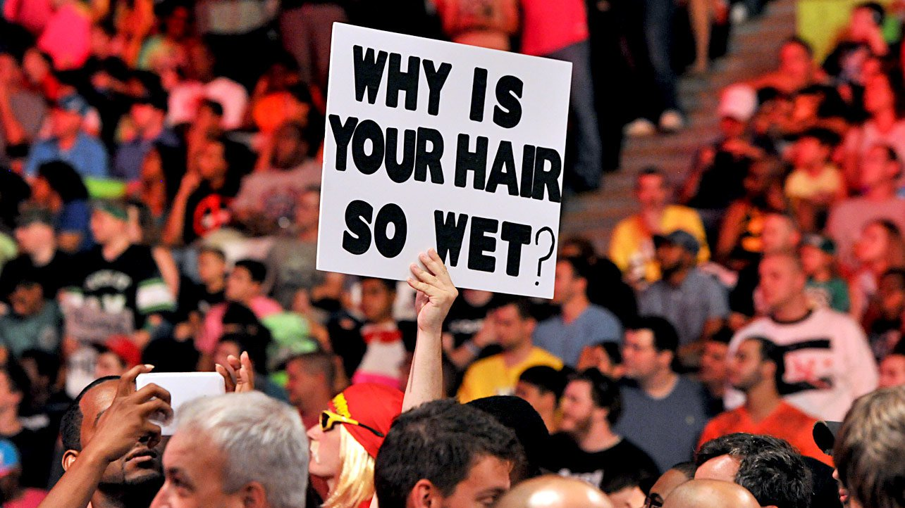 wet hair wrestling wwe funny signs