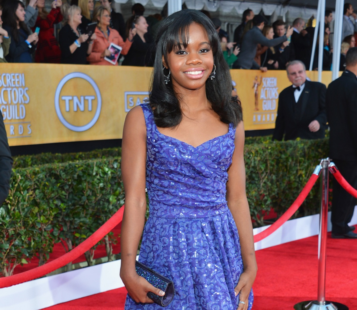 Olympic gymnast Gabby Douglas arrives at the 19th Annual Screen Actors Guild Awards