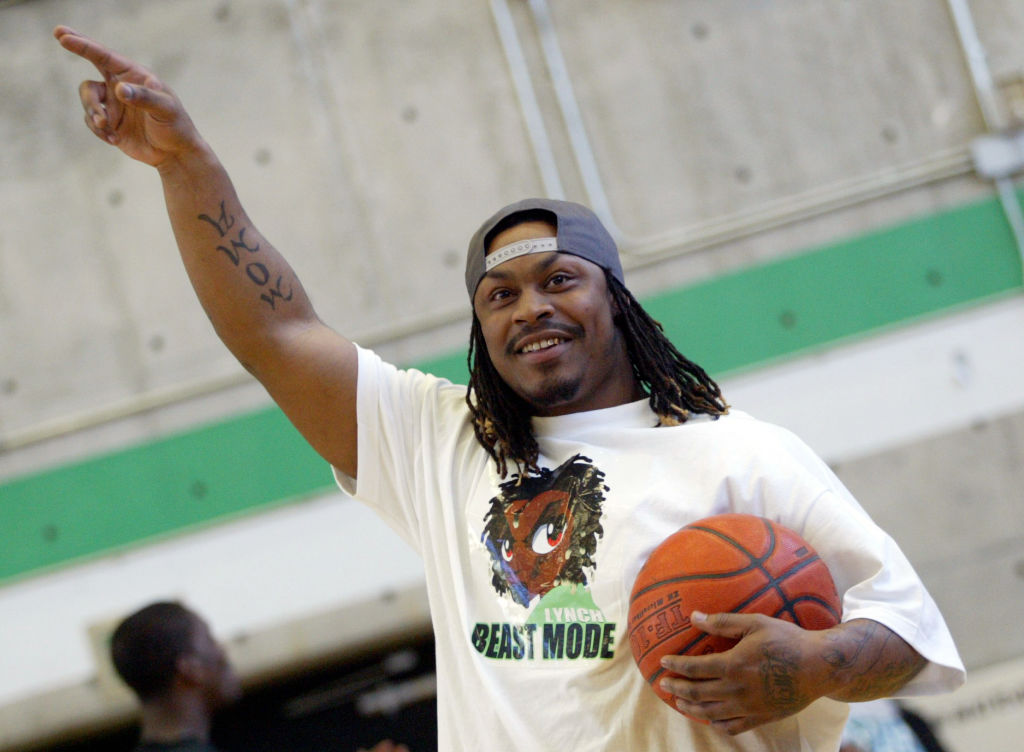 Marshawn Lynch Playing Basketball