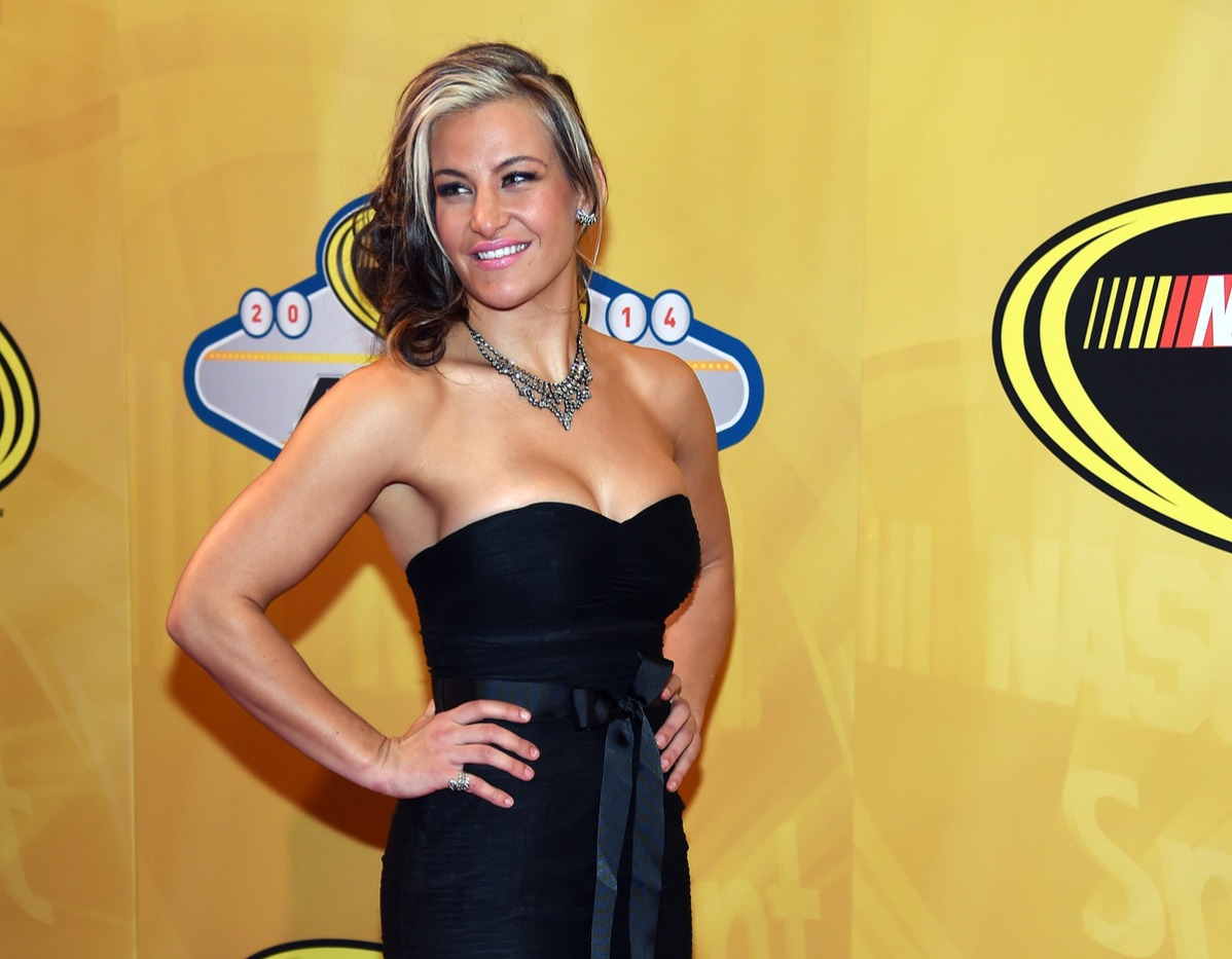 UFC fighter Miesha Tate arrives on the red carpet prior to the 2014 NASCAR Sprint Cup Series Awards
