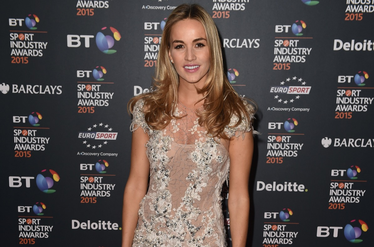 Racing driver Carmen Jorda poses on the red carpet at the BT Sport Industry Awards 2015