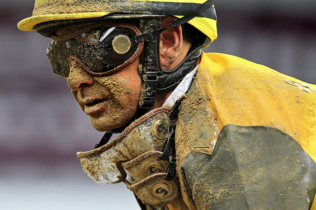 Mike Smith covered in mud