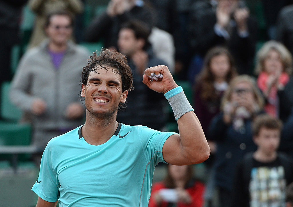 rafal nadal at the French open in 2014 after winning his record 5th consecutive men's singles titles
