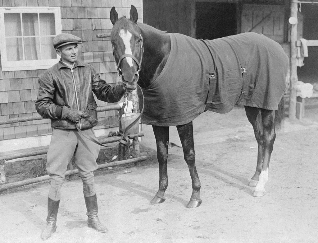 Kentucky Derby Jockey With Horse black and white