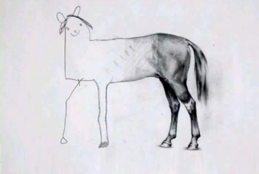 hilarious horse drawing