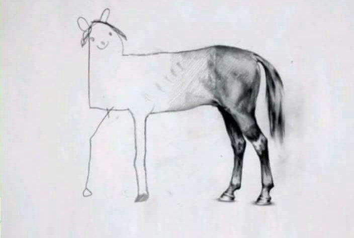 inconspicuous horse drawing