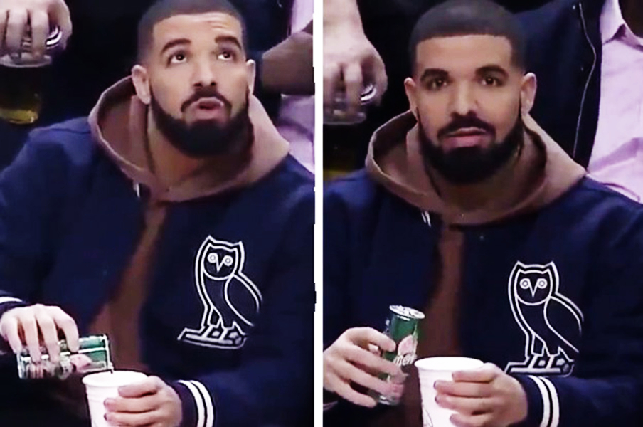 drake caught mixing drink at raptors