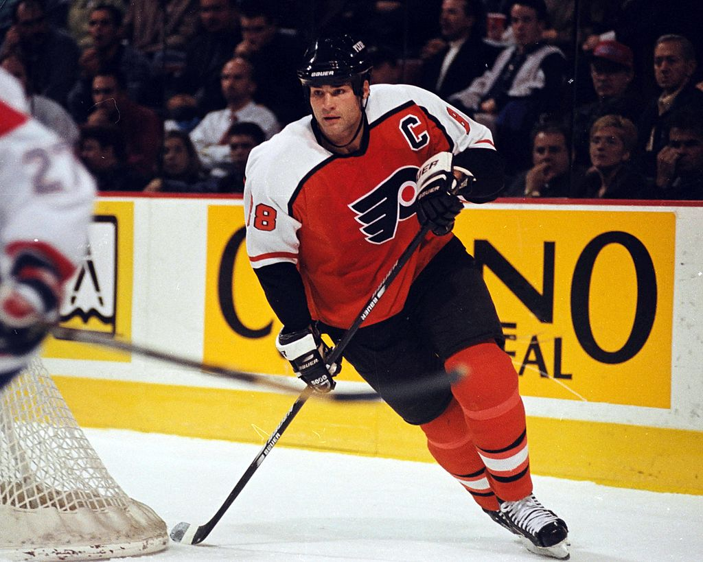 Eric Lindros skates against the Montreal Canadiens in the early 1990's at the Montreal Forum