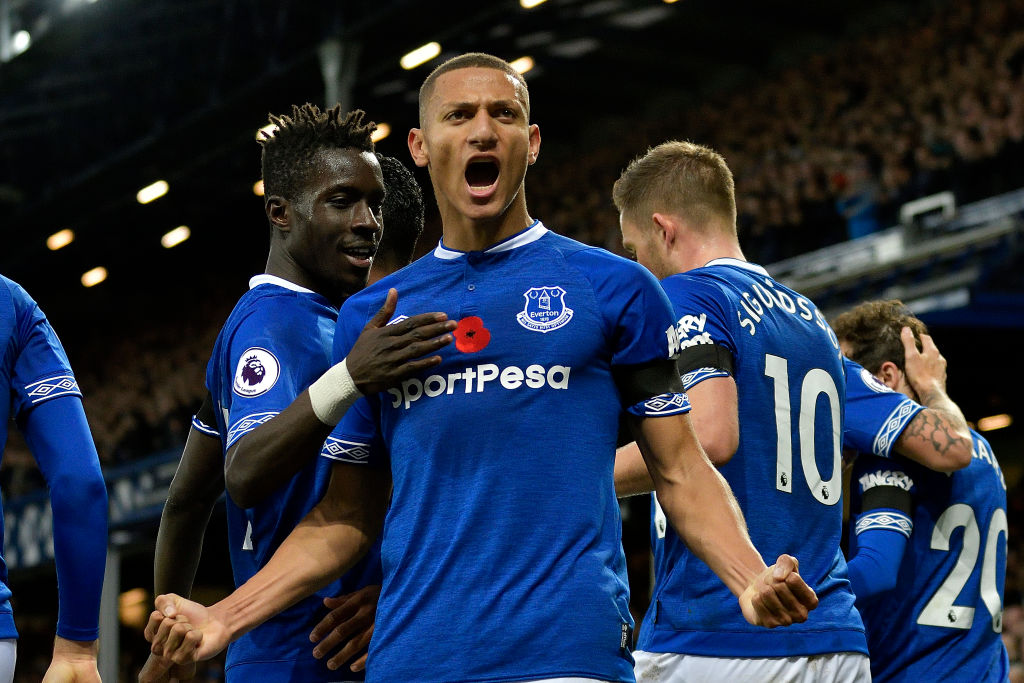 Richarlison of Everton celebrates his goal with Idrissa Gueye during the Premier League