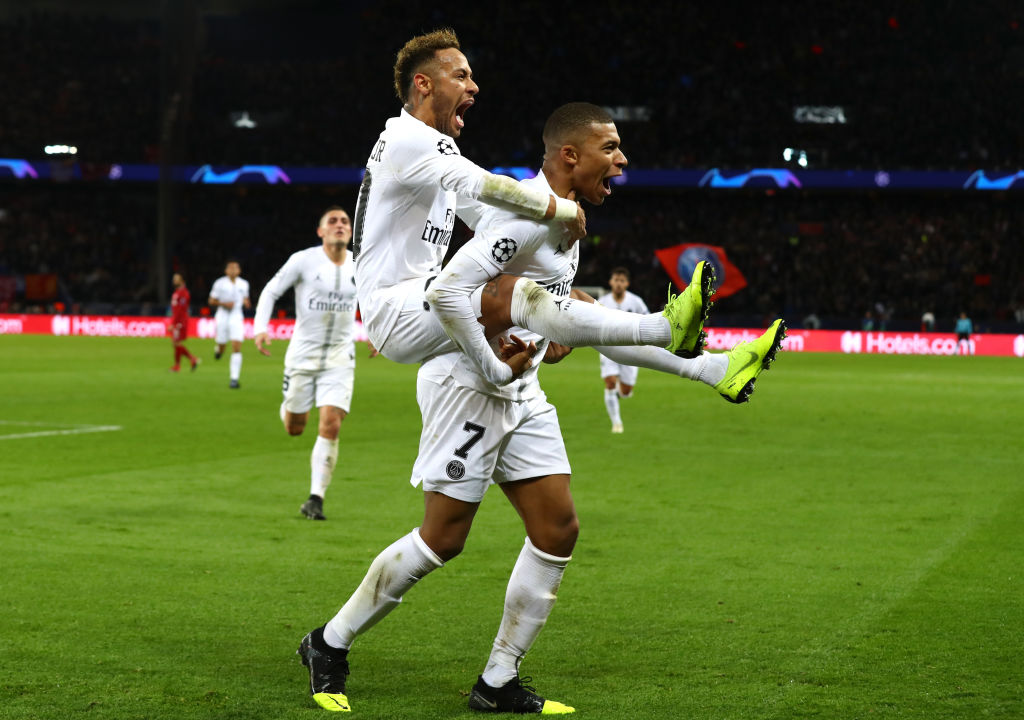 Paris Saint-Germain  celebrates after scoring his team's second goal with Kylian Mbappe of Paris Saint-Germain during the UEFA Champions League Group C match