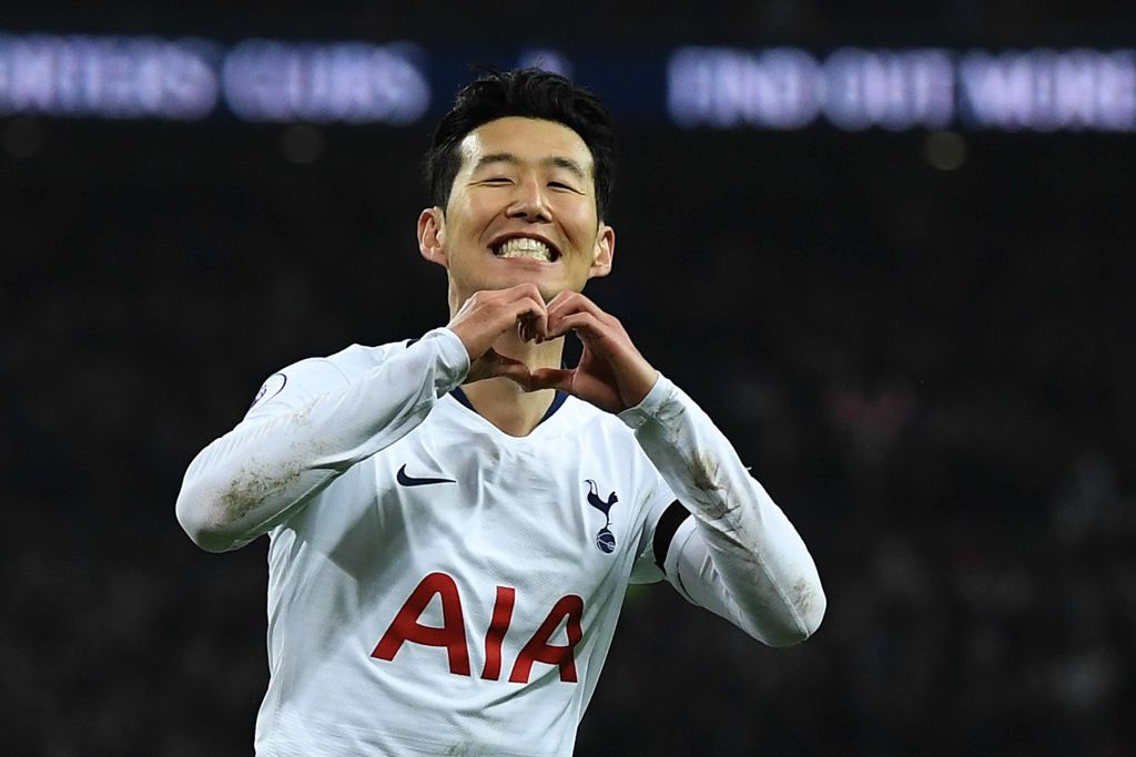 Tottenham Hotspur celebrates after scoring his team's third goal during the Premier League match