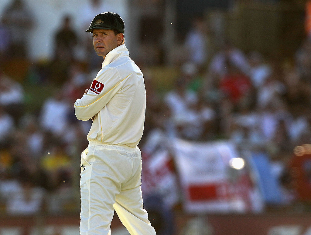 Ricky Ponting looks on in the field during day one of the Third Ashes Test match