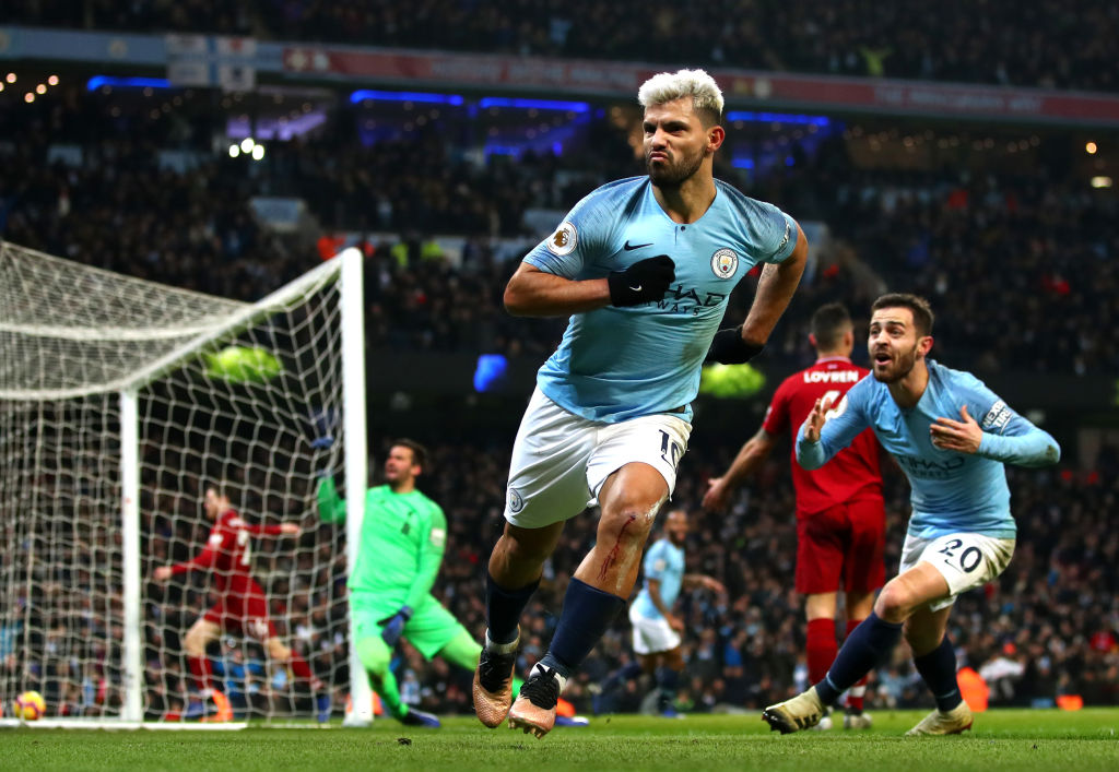 Manchester City celebrates after scoring his team's first goal during the Premier League match between Manchester City and Liverpool FC