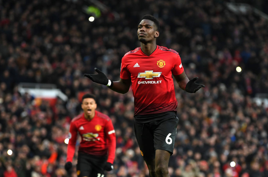 Manchester United celebrates after scoring his team's first goal during the Premier League match