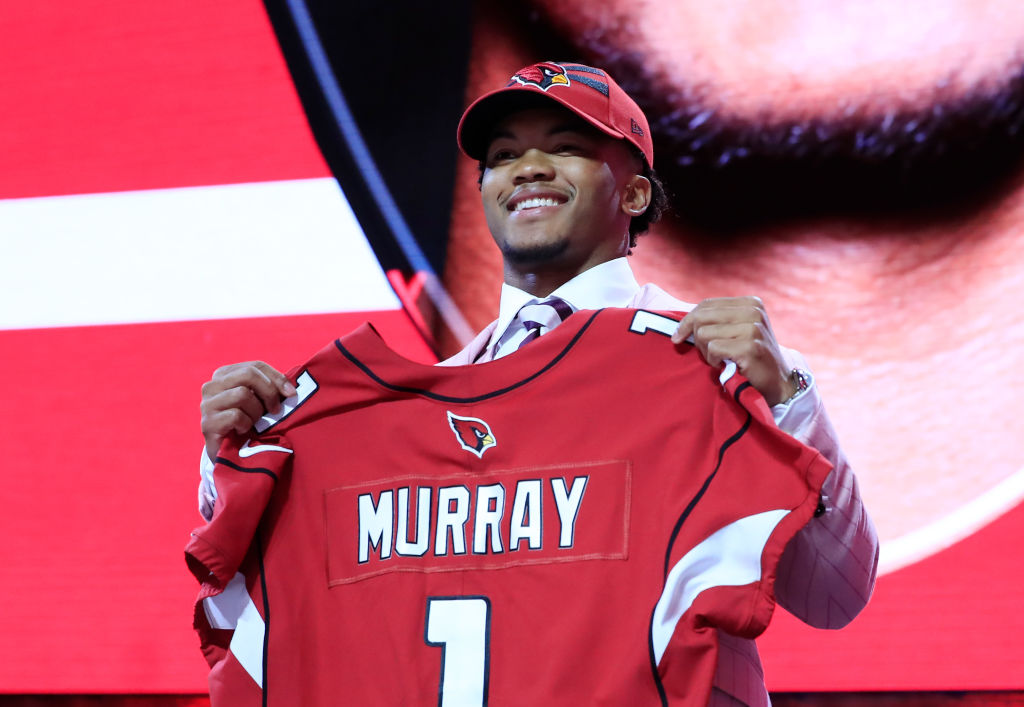 Kyler Murray reacts after he was picked #1 overall by the Arizona Cardinals during the first round of the 2019 NFL Draft
