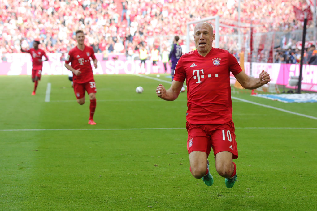 Arjen Robben of Bayern Munich celebrates after scoring his team's fifth goal