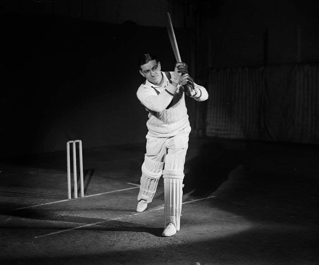 Wally Hammond, captain of the England and Worcestershire cricket team gives a demonstration of batting technique