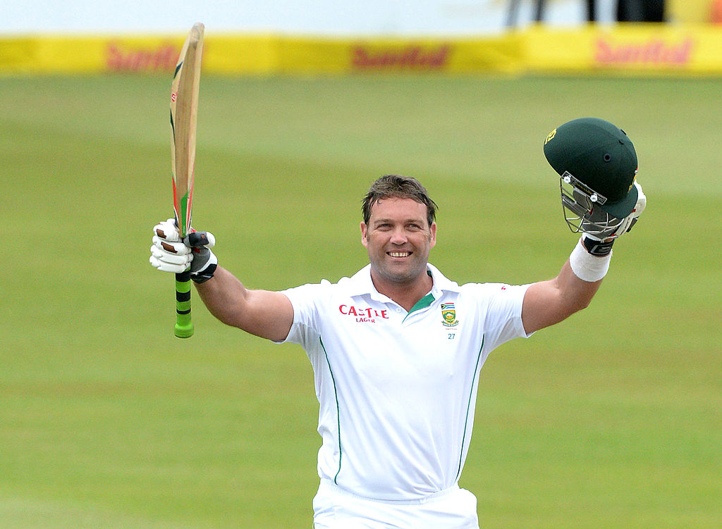Jacques Kallis celebrates his 45th century in his final test match during day 4 of the 2nd Test match between South Africa and India