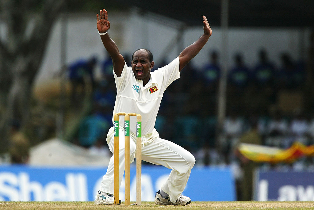 Sanath Jaysuriya appeals for a wicket during the third day of the second test match