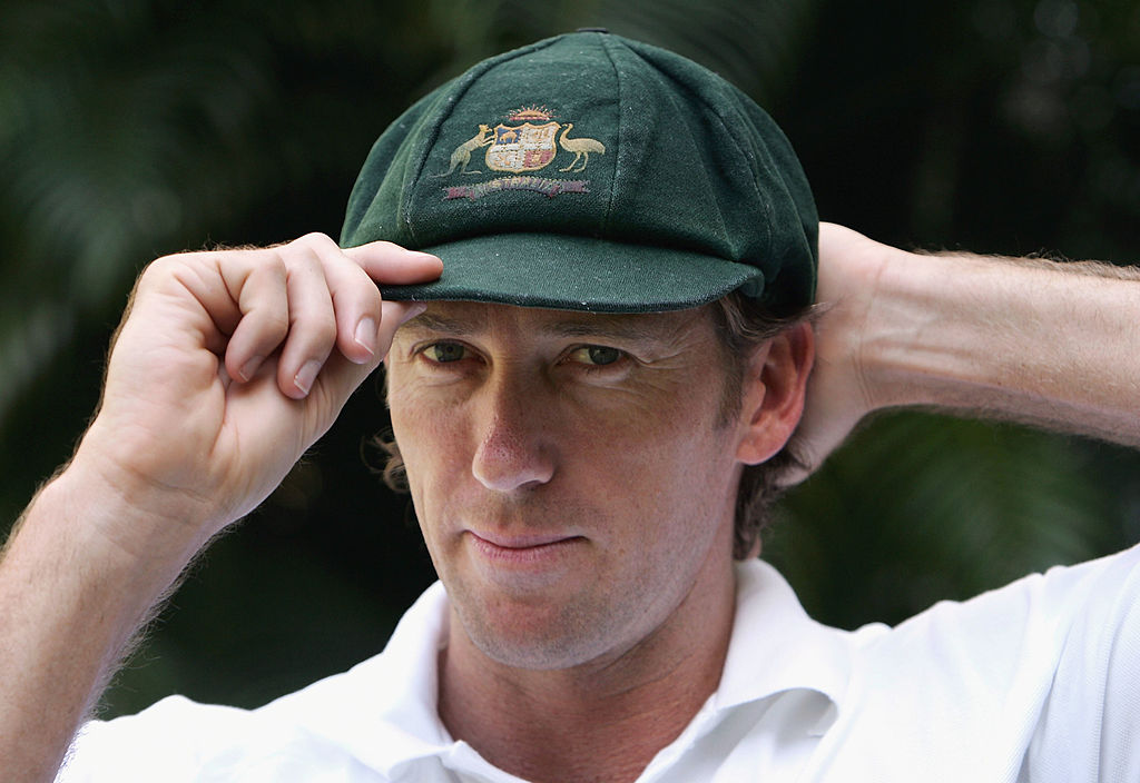 Glenn McGrath looks on in his Baggy Green at the Taj Mahal Hotel