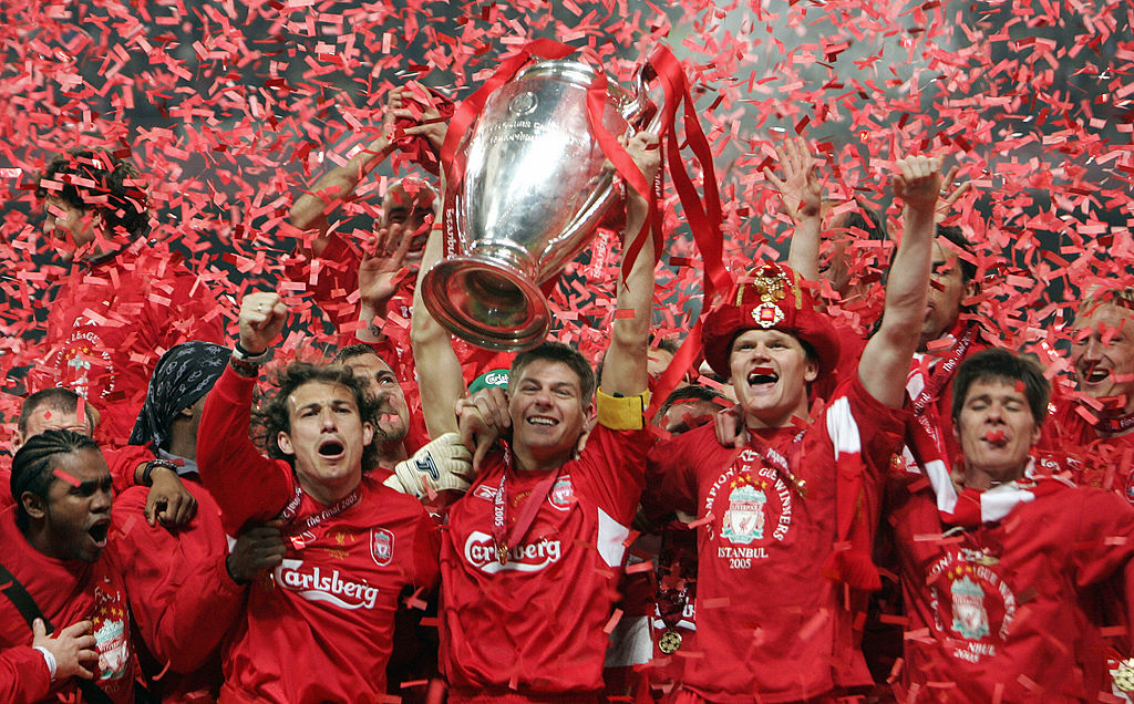 Liverpool FC  at the end of the UEFA Champions league football final AC Milan vs Liverpool