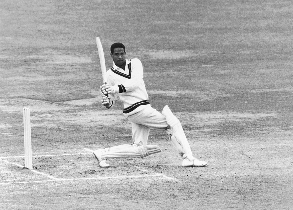 Gary Sobers pulls the ball for a four during his unbeaten 163