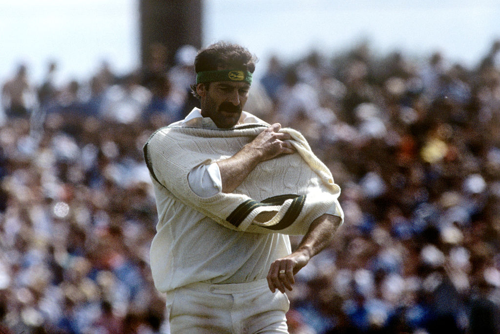 Dennis Lillee prepares for a spell of bowling