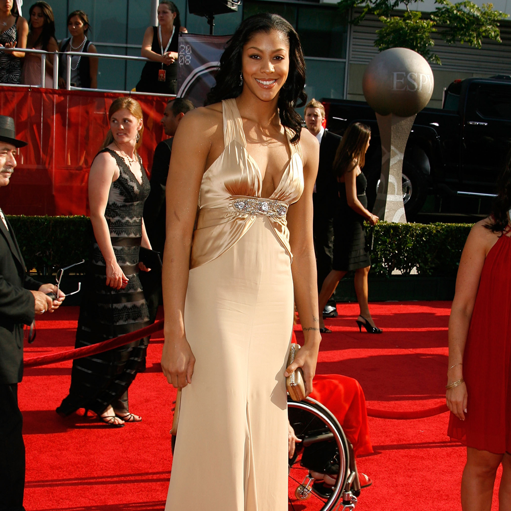 Candace Parker arriving at the espys in gold dress