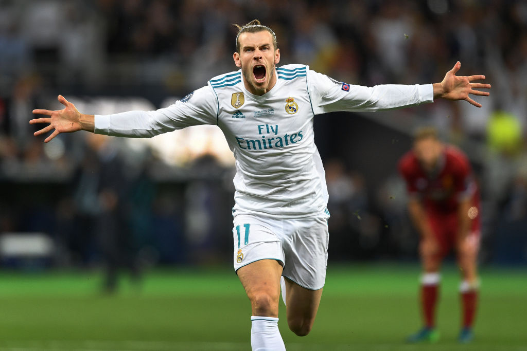 Gareth Bale of Real Madrid celebrates scoring his side's second goal during the UEFA Champions League Final