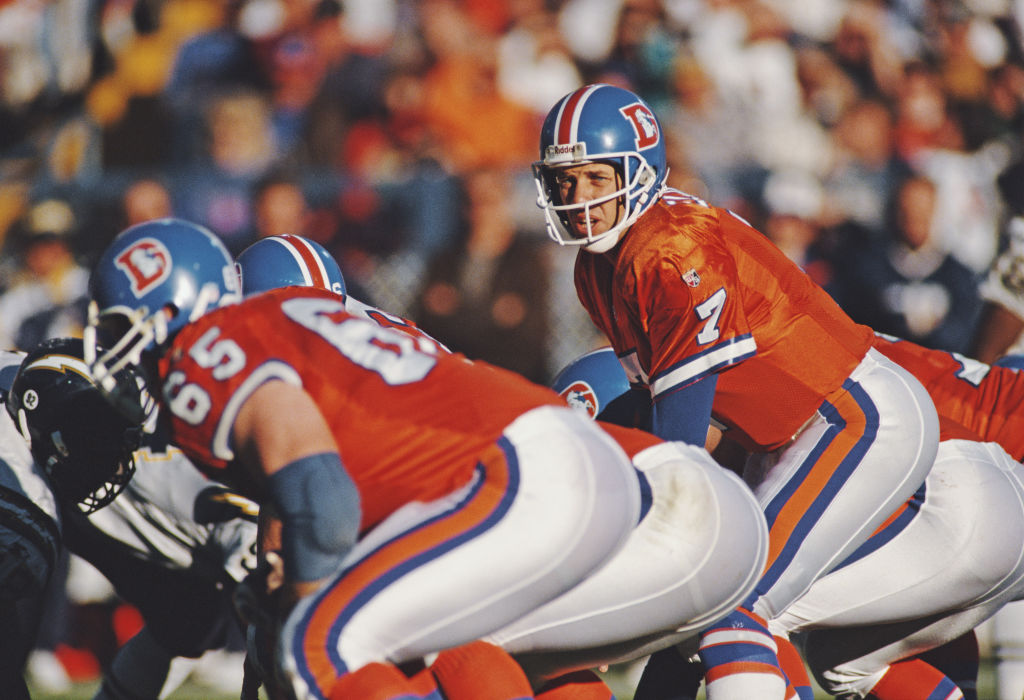 John Elway calls the play on the line of scrimmage during the American Football Conference West game against the San Diego Chargers