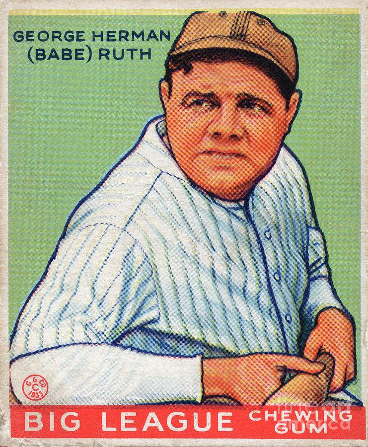 green ruth baseball card from 1933