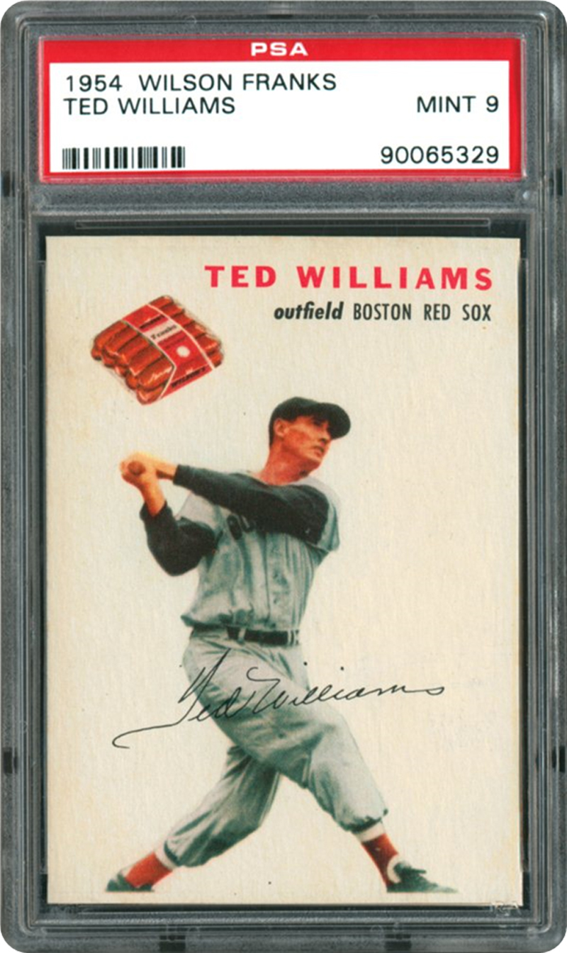 ted williams 1954 wilson franks card