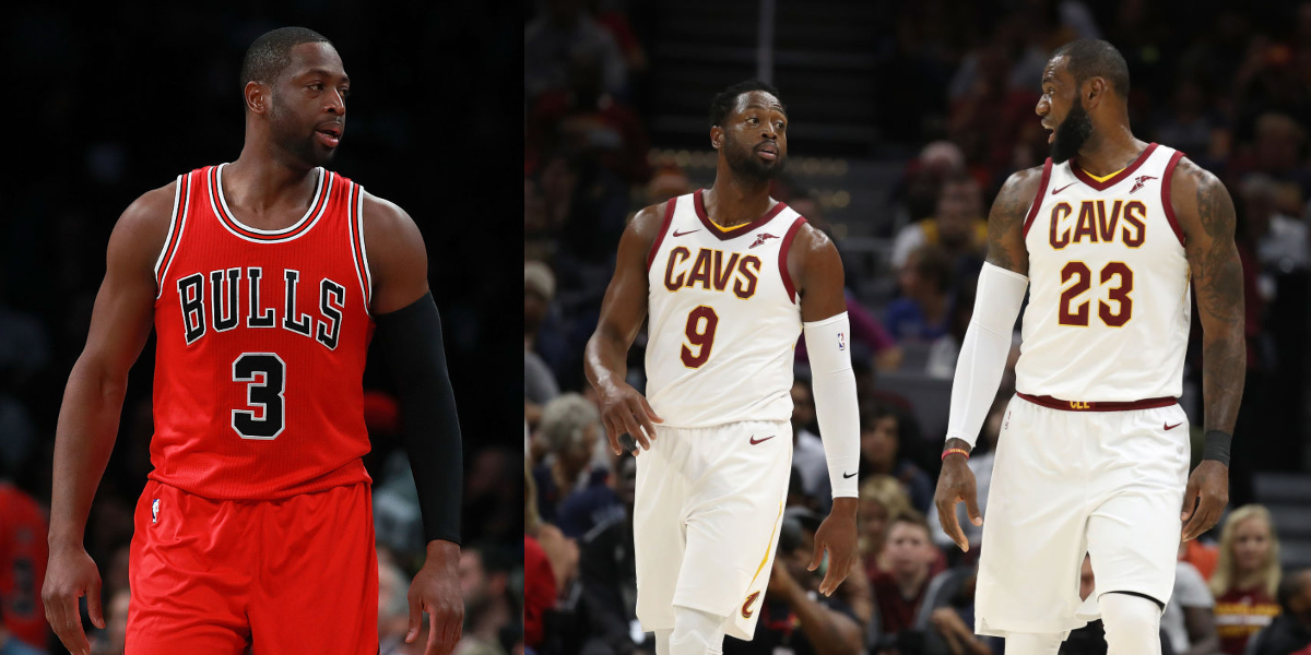 wade donning two different jerseys towards the end of his career
