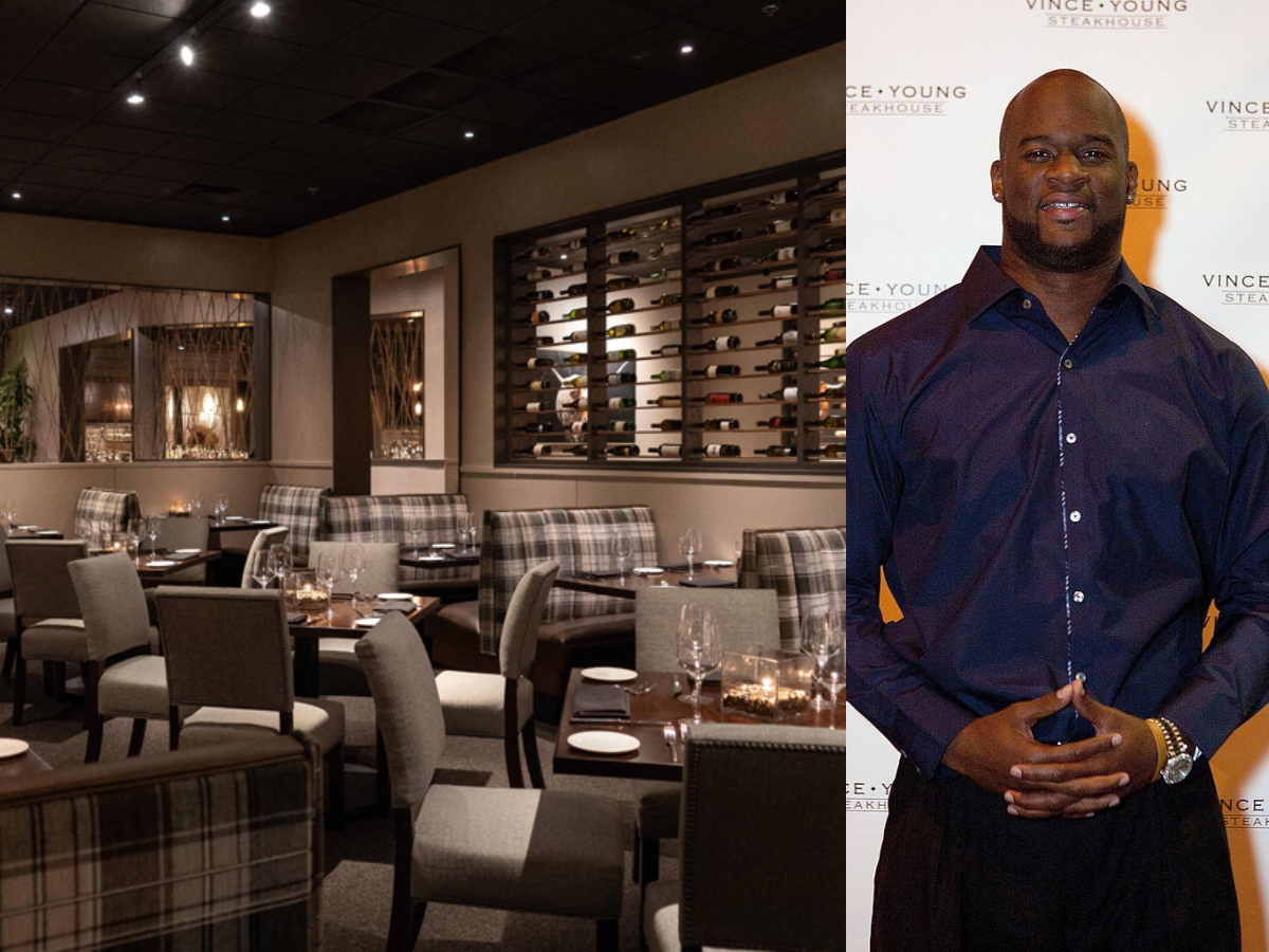 Vince Young and his steakhouse. Here he is posing for a picture.