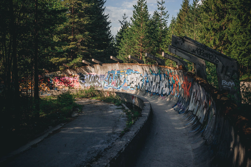 Sarajevo Bobsleigh and Luge Track abandoned olympic stadium