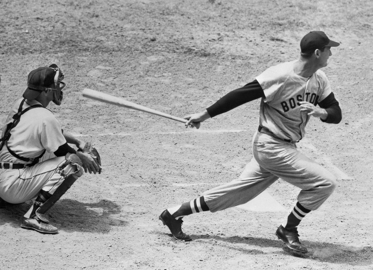 Ted Williams Losing Baseball Bat to Run