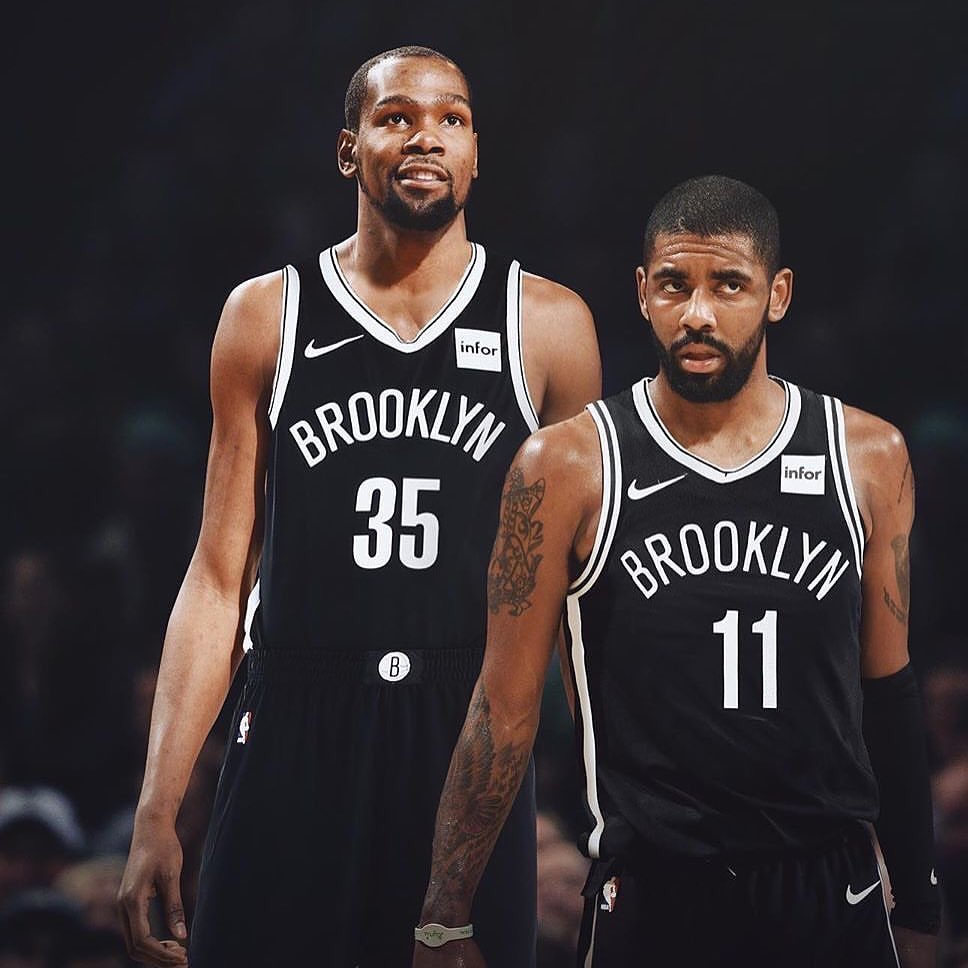 KD and Irving sporting the Brooklyn Nets Jersey