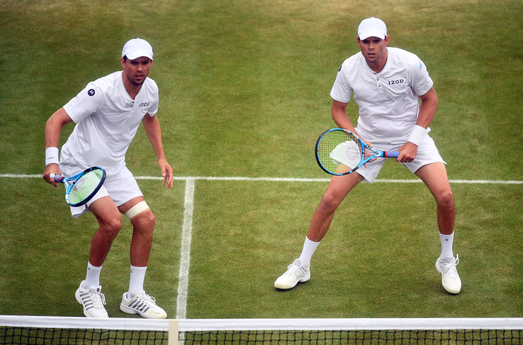 Mike Bryan and Bob Bryan in action during their mens doubles match