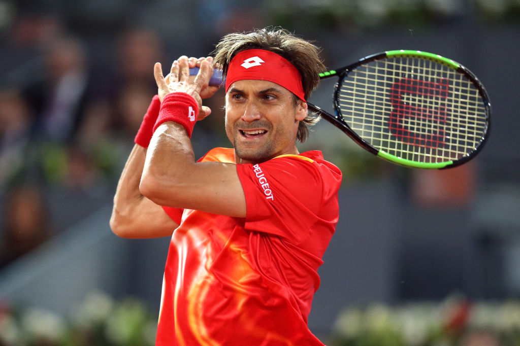 David Ferrer swings the racket