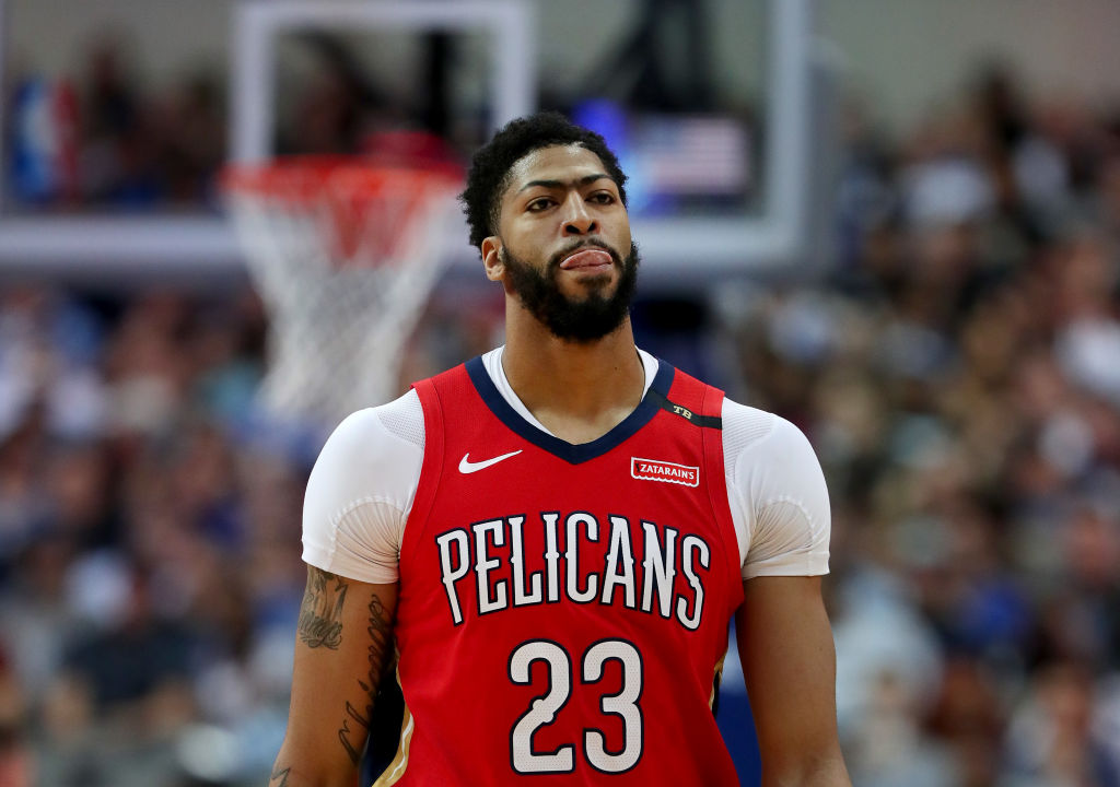 Anthony Davis #23 of the New Orleans Pelicans walks off the court against the Dallas Mavericks in the first half at American Airlines Center -1136709128