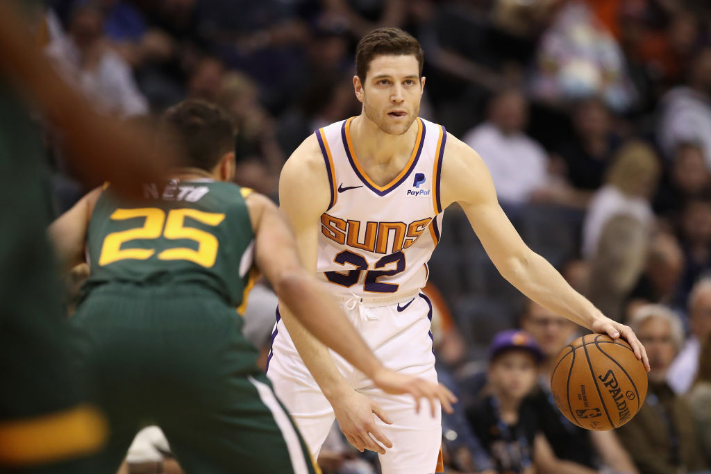 Jimmer Fredette of the Phoenix Suns handles the ball during the second half of the NBA game against the Utah Jazz -1140503478