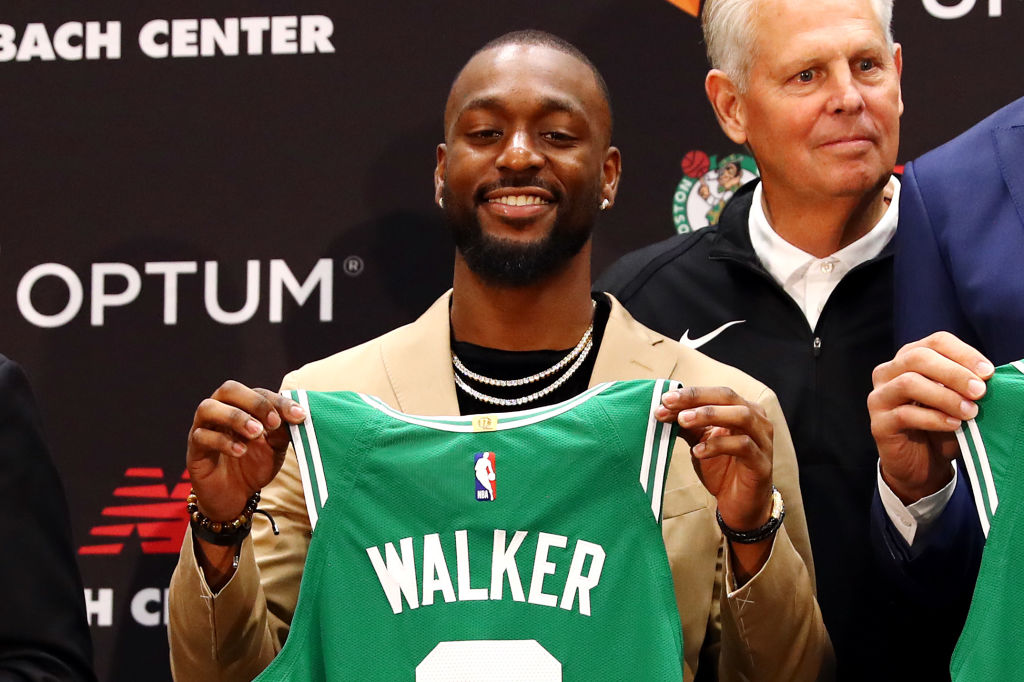 Kemba Walker is introduced as a member of the Boston Celtics during a press conference -1162609548