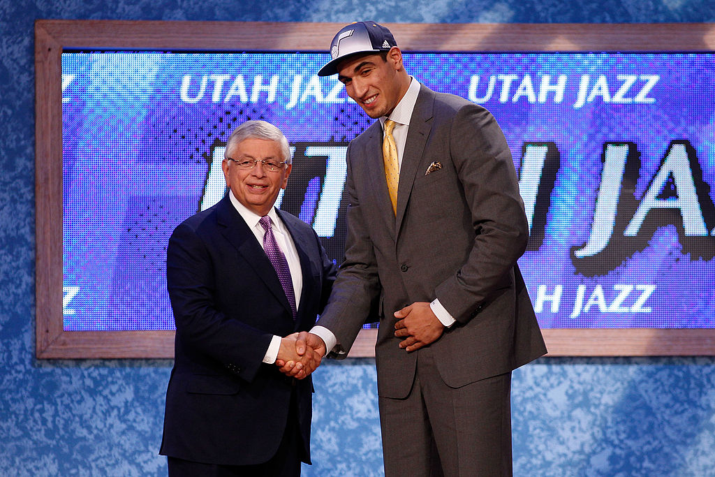 Enes Kanter (R) from Istanbul, Turkey greets NBA Commissioner David Stern