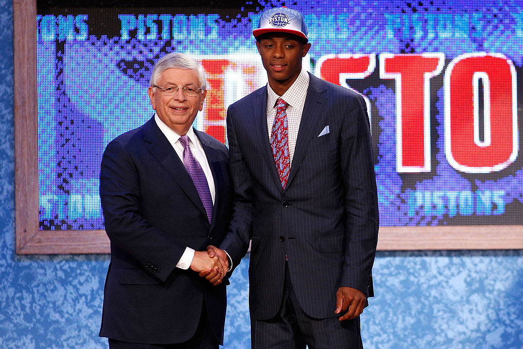 Brandon Knight from the University of Kentucky greets NBA Commissioner David Stern after he was selected #8 overall by the Detroit Pistons -117159287