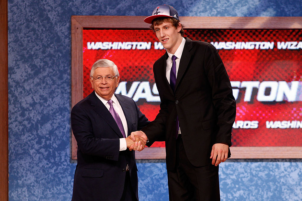 Jan Vesely from the Czech Republic greet NBA Commissioner David Stern after he was selected #6 overall by the Washington Wizards-121737616