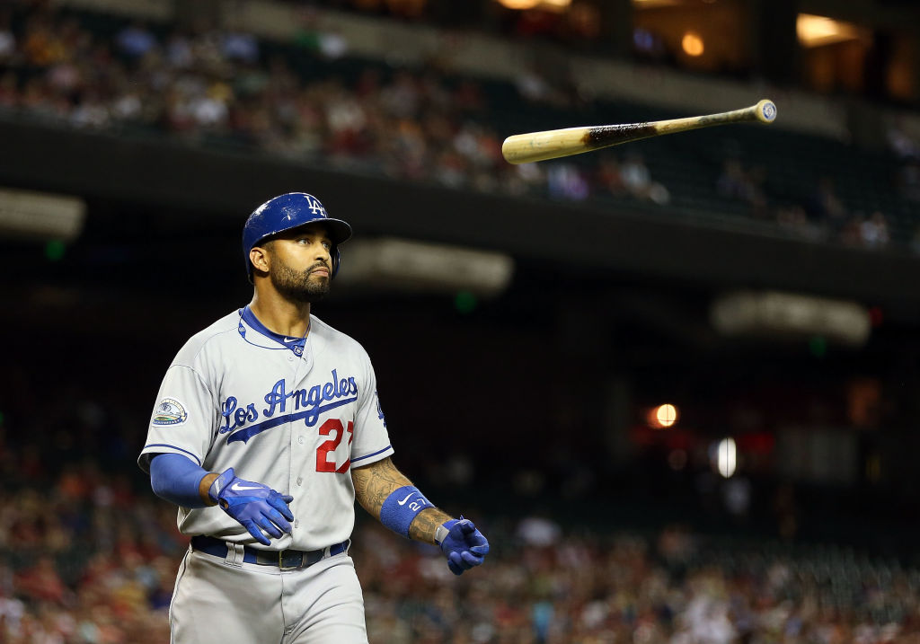 Matt Kemp #27 of the Los Angeles Dodgers flips his bat after a fly ball out during the MLB game against the Arizona Diamondbacks at Chase Field on September 12, 2012 in Phoenix, Arizona-151896032