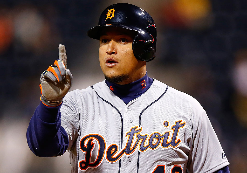Miguel Cabrera #24 of the Detroit Tigers argues with the umpires in the ninth inning against the Pittsburgh Pirates while wearing the #42 to commemorate Jackie Robinson Day during the game at PNC Park on April 15, 2015 in Pittsburgh, Pennsylvania-469859612