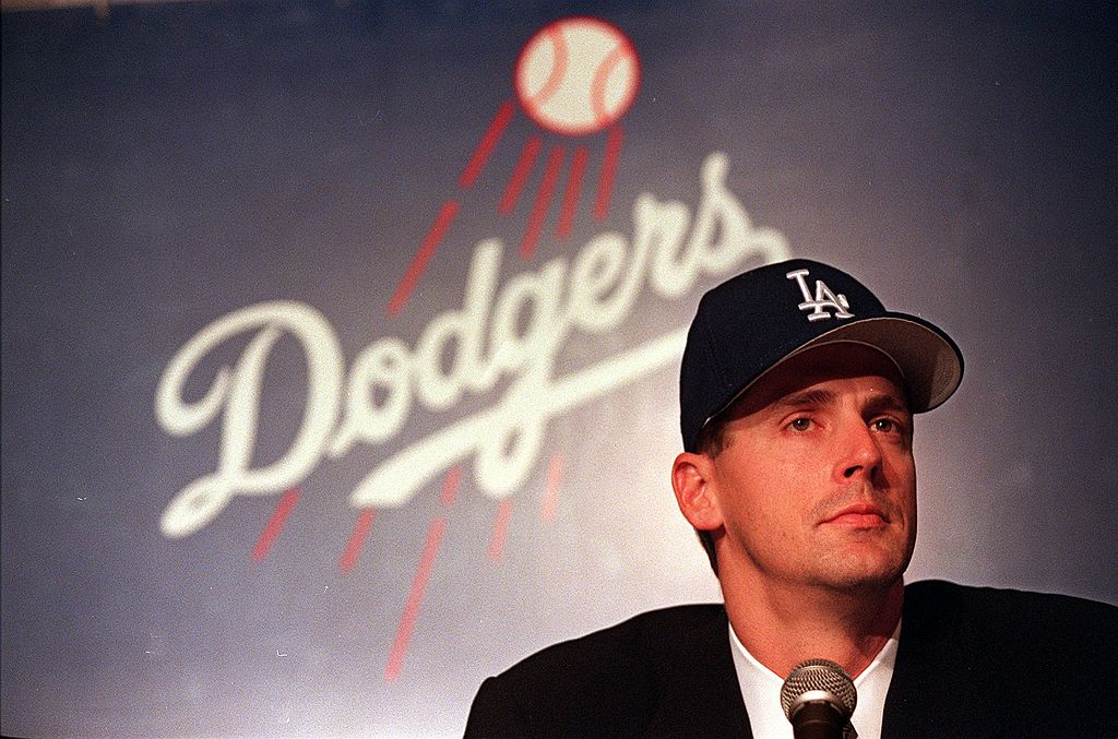 Major league baseball pitcher Kevin Brown listens to questions during a press conference 15 December where he met with the media following the signing of his 105 million dollar, seven-year contract with the Los Angeles Dodgers. The four-time, All-Star Brown became the highest paid baseball player in history.-51623146