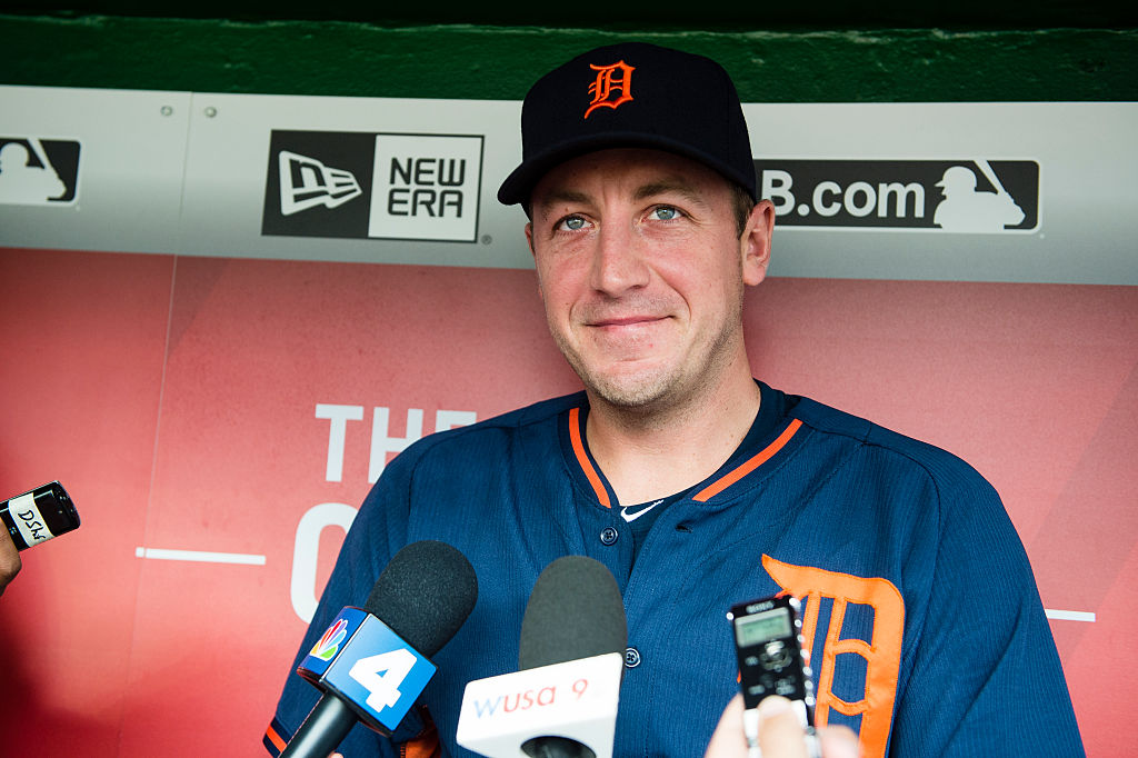 Jordan Zimmermann #27 of the Detroit Tigers speaks to members of the media prior to a MLB baseball game between Tigers and Washington Nationals at Nationals Park on May 9, 2016 in Washington, DC-531503230